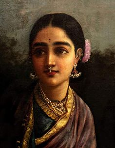 This particular Radha is conceivably one of the most beautiful of Raja Ravi Varmas uttama nayikas, the high minded women of many virtues and qualities that are intrinsic to goddesses and women in classical Indian literature.  Radha radiates the soft beauty, intelligence and sensitivity of the uttama nayika, and being Radha of unparalleled beauty, Ravi Varma has painted her with extra care and refinement.  EVERY WOMAN is a Radha, an Uttama Nayika.