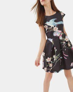 Flight of the Orient dress - Black | Dresses | Ted Baker UK
