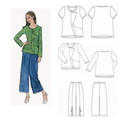 The Sewing Workshop Urban T-Shirt & Pants Pattern from @fabricdotcom  This pattern includes a semi-fitted t-shirt that has a round neck with stand up band, diaginal front seam with cascading drape, angled pocket extending into hem. Long or short sleeve versions. Stitched hems. Recommended fabrics include cotton knits, rayon knits, polyesters knits. Pants are Cropped straight-leg pants that have a center front seam with faced vent and button loop detail, no side seam, flat waistband in front…