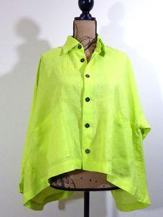ART TO WEAR Eskandar jacket lagenlook top artsy green Linen exclusive sz OS #Eskandar #BasicJacket #Formal