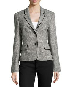 Escada Velvet-Trimmed Tweed Blazer, Charcoal -- sizes 40, 46 only.  Was $575, now $287.
