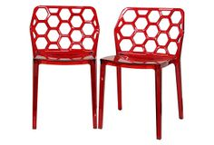 Red Honeycomb Dining Chairs, Pair on OneKingsLane.com