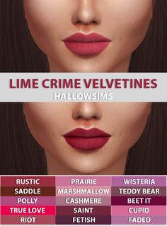 Lana CC Finds - hallowsims:  HALLOWSIMS LIME CRIME VELVETINES...