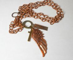 Copper unisex or men's necklace with copper chain, copper wing, brass cross, Every day is a second chance inspirational jewelry copper chain