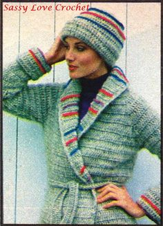 ♥´¨) ¸.•´ ¸.•*´¨)¸.•*¨) (¸.•´ (¸.•`♥ Instant Download! Bring out your Goddess! Wonderful, exciting sweater to crochet and to wear every day of your life. Here are the directions in sizes from 6 to 16. NOTE: Jacket and hat are reversible with colored stripes showing on one side