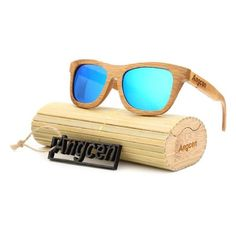 f4f0bb059fb Bamboo Wood Sunglasses for Men Retro Vintage Wood Lens Wooden Frame  Handmade ZA03