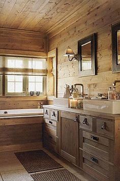 warm rustic and cozy perfect for the kids bathroom