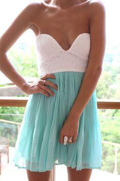 White and aqua strapless dress!