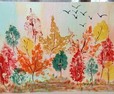 Fall Arts And Crafts, Autumn Crafts, Fall Crafts For Kids, Autumn Art, Art For Kids, Fall Art Projects, Craft Projects For Kids, Fall Canvas Painting, Kindergarten Art Lessons