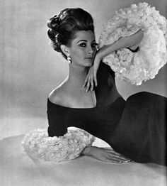 Model in long black silk gazar dress with v-neckline and sleeves embroidered in white lace flowers, by (Jules Crahay) Jeanne Lanvin, photo by Georges Saad, 1965 by Sixties Fashion, Retro Fashion, Vintage Fashion, Vintage Wear, Vintage Dresses, Vintage Outfits, 1980s Glamour, Jeanne Lanvin, Lace Flowers