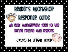 Reader's Workshop Response Cards - Management Tool...