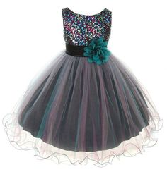Flower Girls Dress Multi Sequin Beaded Dress Teal Blue Baby , Teal Blue, Fits size 7 to 8