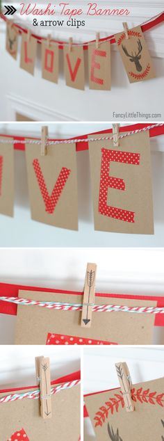 washi tape letters, homemade stamps, baker's twine, clothes pins with doodles on them... so many good banner ideas! and EASY!