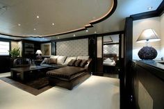 The interiors of luxury yachts