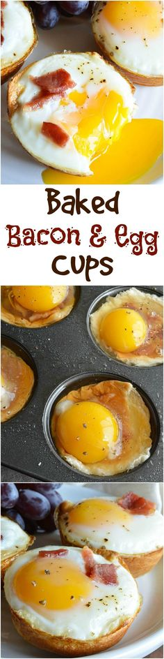 Bacon and Egg Breakfast Cups - This easy breakfast recipe is made with 3 ingredients! Hawaiian rolls, bacon and eggs baked to perfection! #breakfast wonkywonderful.com