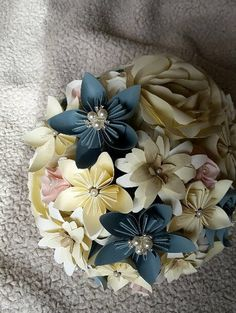 Stunning Bridal Bouquet in deep creams, teal blue and a hint of shell pink, paper flower wedding bouquet, origami bride bouquet, kudusama by TheWoollenWhaleCo on Etsy