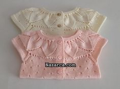 ROBASI YAPRAKLI GÖVDESİ DELİKLİ BEBEK YELEĞİ   Nazarca.com Crochet Bebe, Crochet For Kids, Cardigan Design, Rain Poncho, Work Gloves, Baby Cardigan, Baby Kids, Ruffle Blouse, Knitting