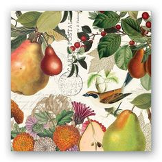20 Mesafina Napkins Autumn Fruit Berries Theme Cocktail or Luncheon 3 ply FALL