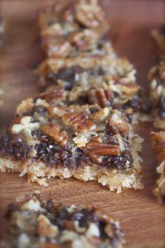 Coconut Chocolate Cookie Bars. Gluten free, Vegan recipe