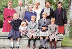 Back row: Duchess of York, Duke of Edinburgh, The Queen, Princess and Prince of Wales, Princess Anne