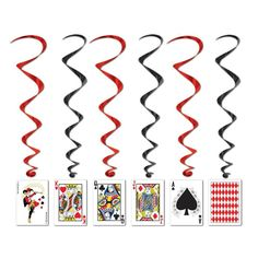 The Party Aisle Hang the playing card whirls from the ceiling at your casino themed party. Each pack contains five whirls. Pair with other casino themed items to complete the look. Casino Party Decorations, Casino Theme Parties, Party Themes, Party Ideas, Hanging Decorations, Party Props, Alice In Wonderland Decorations, Alice In Wonderland Party, Las Vegas