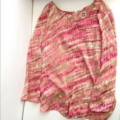 Anne Klein pink multicolor 3/4 sleeve top Anne Klein pink multicolor 3/4 sleeve top-NWOT! Zips up in the back. Super soft silky polyester! Anne Klein Tops