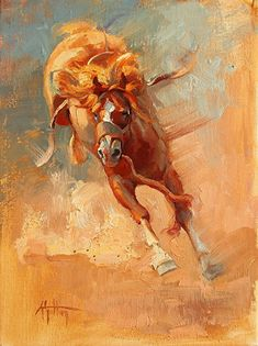"""Stompin' and Kickin'"" by Abigail Gutting Oil ~ 12"" x 9"""