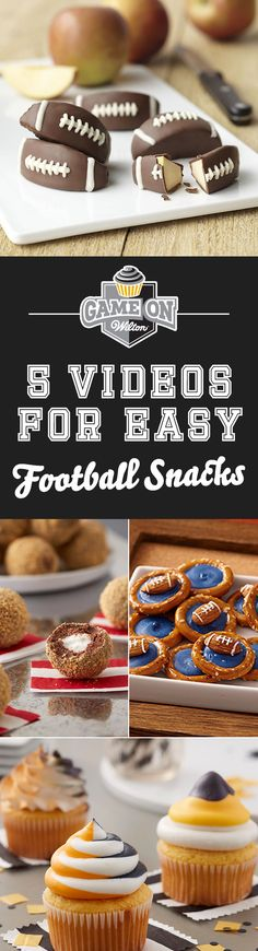 With the football season in full swing, we've compiled quick step-by-step video tutorials on how to make football treats to share with friends and family. So, huddle up and watch how easy it is to make easy football snacks that will score big, whether it's for tailgating, a big game day party, or for a PEP rally.