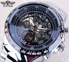 Winner Black Dial Skeleton Mens Watch - Luxury Stainless Steel Sport Watch - Skeleton Watch Company