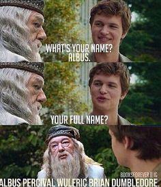 -Как тебя зовут? -Альбус -Твоё полное имя ? -Альбус Персиваль Вульфрик Браян  Дамблдор