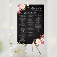 Wedding Seating Chart   Alphabetical   Various Sizes   Pretty   Antique Chalkboard   Romantic Blooms   I Create and You Print