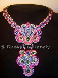 OOAK Soutache Jewelry Necklace Tie Czech Glass by DesignByNataly, $50.00