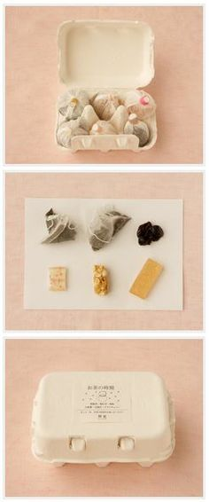 Kisara 粋更 | Wrapped Japanese sweets and tea in the egg carton
