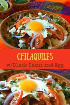 Mexican Red Chilaquiles with Black Beans and Eggs - who is ready for brunch? Click to get the full recipe!