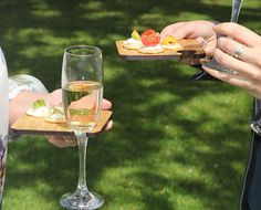 Canapes and wine glass holder- our Wibble Bord for wine and nibbles. Perfect for…
