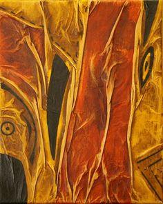 Lignes en forme I, Techniques mixtes sur toile, 24x30 cm, vendu