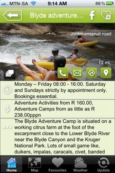 """Blyde Adventure Camp is a hAPPy activity - a """"what to do"""" listing on the Hoedspruit Info App"""