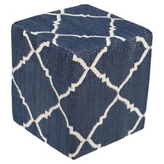 Lend a touch of breezy appeal to your living room or master suite with this charming pouf, showcasing a diamond trellis motif in navy and ivory....