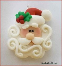 NEW Polymer Clay Swirly Beard Santa Pendant by michellesclaybeads Polymer Clay Ornaments, Fimo Clay, Polymer Clay Projects, Polymer Clay Charms, Polymer Clay Creations, Polymer Clay Jewelry, Clay Crafts, Dough Ornaments, Clay Beads