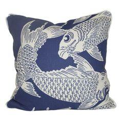 oomph - calypso navy pilllow. Fabric from Manuel Canovas.