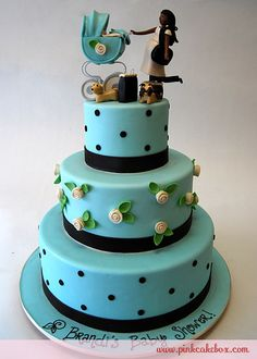 Click to enlarge Baby Blue Shower Cake