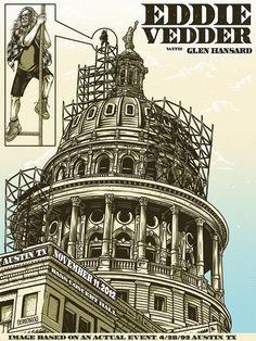 Poster for Eddie Vedder's show in Austin/Texas 2012 by Demones