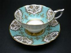 Royal Stafford Icy Turquoise Gold Roses Fleur-de-Lys Teacup and Saucer Tea Cup | eBay