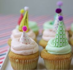 Mini party hat cupcake topper