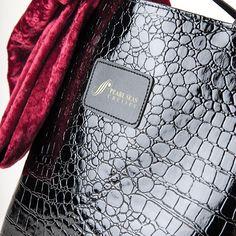 Take-Me-Away Tote Fashion forward sleek croc embossed shiny black vinyl  tote b7724d0e874