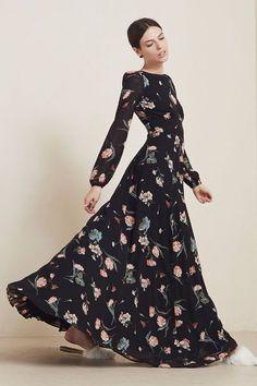 Image result for long sleeve dark floral maxi dress