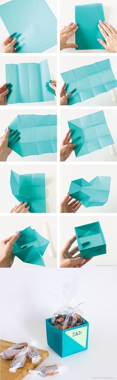 Origami Gift Box - A simple yet fantastic and unique way to give gifts. This origami gift box even has room for a little message to be slipped inside. gift box Become a DIY Expert With These 25 Projects Origami Diy, Origami Gift Box, Origami Paper, Easy Origami Box, Oragami, Origami Ideas, Simple Origami, Origami Bookmark, Origami Design