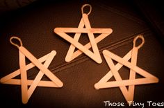 craft stick star ornaments (add paint & glitter)