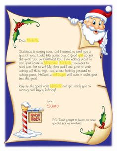 Children everywhere enjoy the mystery of Santa Claus. The age-old letter to Santa could be a wonderful way for children to convey their i. Christmas Letter From Santa, Christmas Letter Template, Free Letters From Santa, Personalized Letters From Santa, Christmas Things To Do, Santa Template, Santa Letter Printable, Christmas Open House, Letters For Kids