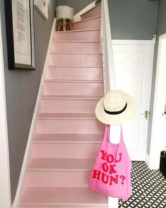 Pinky - After months of trying to decide what carpet runner we wanted, I decided to use pink furniture paint to just finish off Painted Staircases, Painted Stairs, Pink Carpet, Beige Carpet, Orange Carpet, Pink Furniture, Painted Furniture, Metal Furniture, Houses